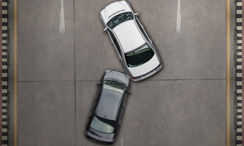 Overhead view of a two car collision